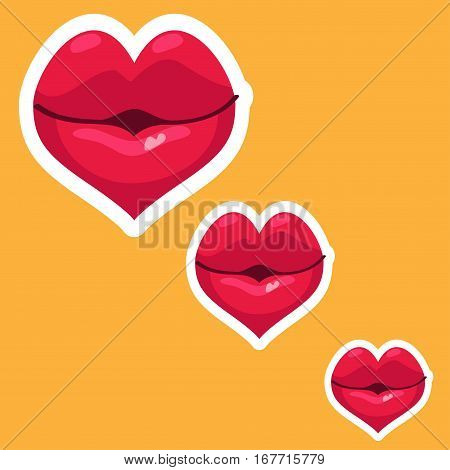 Large and small lips on a yellow background. Vector illustration