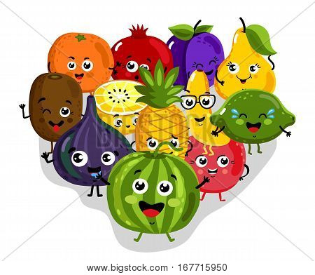 Cute fruits cartoon characters isolated vector illustration. Funny pineapple, orange fruits, cherry, pomegranate, banana, kiwi, lemon, lime, watermelon, figs. Happy smile fruits emoticon face, comical fruits mascot. Cartoon fruits.