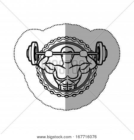 sticker border with contour muscle man lifting a disc weights shading . Vector illustration