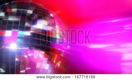 3D Illustration - Shiny disco ball on pink background.