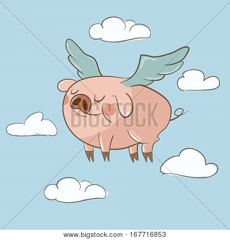 Cute little pig flying in the clouds hand drawn vector illustration. Can be used for baby t-shirt print, kids wear, celebration greeting and invitation card.