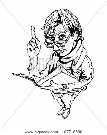 Vector illustration of man with book and upraised forefinger in ink hand drawn style.