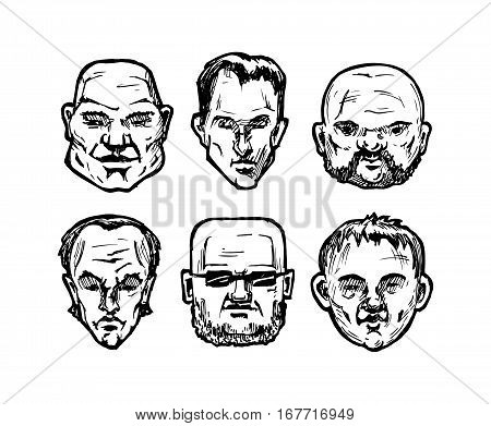 Set of different man's faces. Vector illustration in ink hand drawn style. full face view.