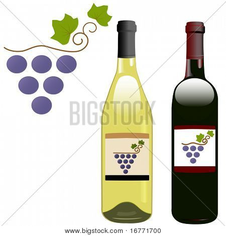 A grape vineyard symbol on the labels of red & white rhone & bordeaux shape wine bottles.