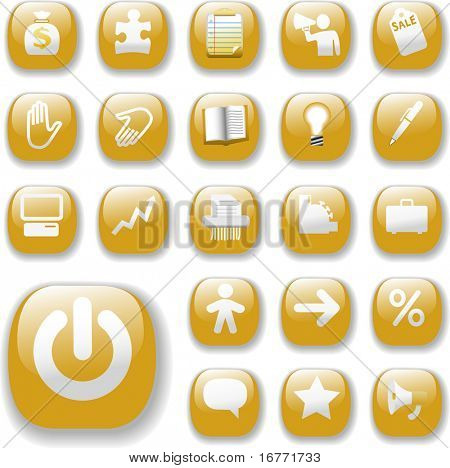 Shiny Gold Control Button Icons, internet website navigation symbols: money bag, puzzle piece, megaphone, people, bullhorn, price tag, power on, briefcase...