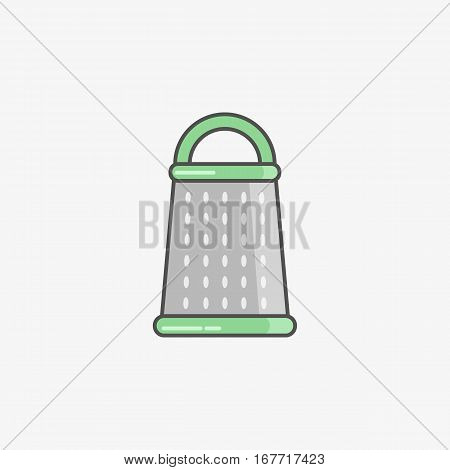 Vector isolated icon of grater on light grey background in flat style. Kitchen utensils for cooking.