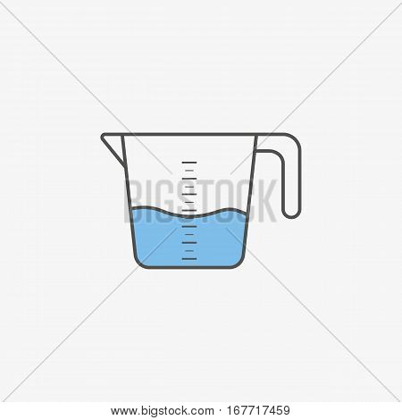 Simple icon of kitchenware measuring cup in flat style. Vector illustration.