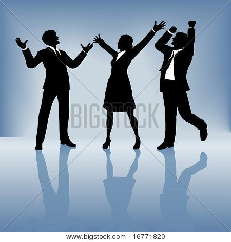A team of 3 business people, 2 men 1 woman, celebrate a worldwide win. Gradient background is solid blue at the top, for easier bleed editing.