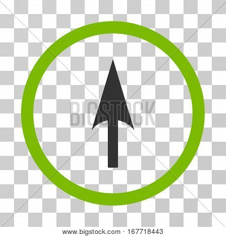 Arrow Axis Y rounded icon. Vector illustration style is flat iconic bicolor symbol inside a circle eco green and gray colors transparent background. Designed for web and software interfaces.