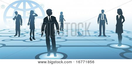 A group of business people silhouettes connect on a blue communications node network, with globe background.