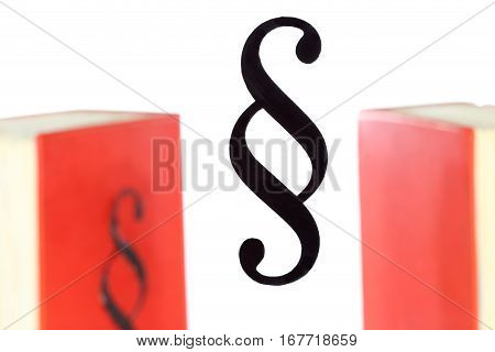 law symbol and law book on background