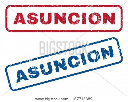 Asuncion text rubber seal stamp watermarks. Vector style is blue and red ink tag inside rounded rectangular shape. Grunge design and dirty texture. Blue and red stickers.