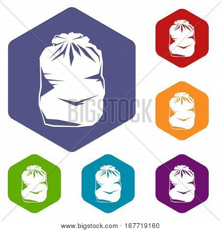 Black trash bag icons set rhombus in different colors isolated on white background