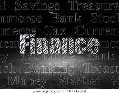 Money concept: Glowing text Finance in grunge dark room with Dirty Floor, black background with  Tag Cloud