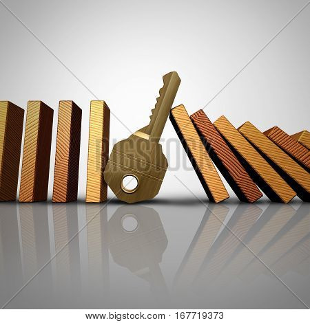 Key business solution stopping the domino effect or security symbol as a group of falling domino pieces with a metal protection symbol as a risk control success metaphor for dependable consultant services as a 3D illustration.