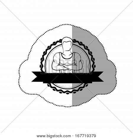 contour sticker border with silhouette muscle man crossed arms and label vector illustration