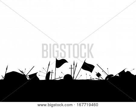 Medieval Battlefield. After The Battle. Vector Illustration