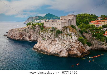 Fort Lovrijenac or St. Lawrence Fortress outside the western wall of the city of Dubrovnik in Croatia