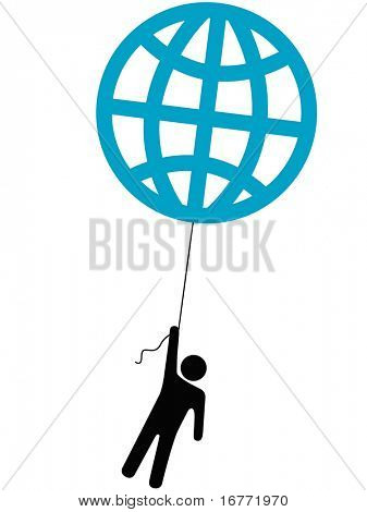 An Earth person rises up lifted into the sky by a globe balloon on a string.