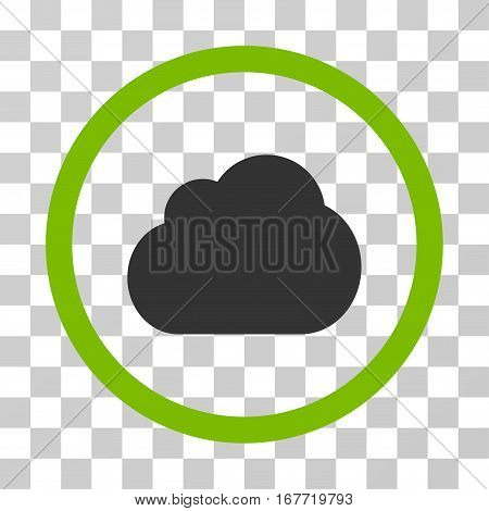 Cloud rounded icon. Vector illustration style is flat iconic bicolor symbol inside a circle eco green and gray colors transparent background. Designed for web and software interfaces.