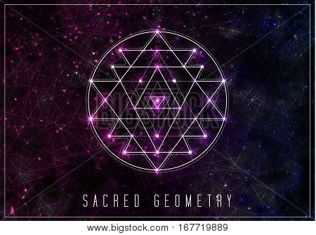 Sri yantra. Sacred geometry vector design element. Alchemy, hipster sacred symbols on a abstract cosmic background with shining stars and color squares.