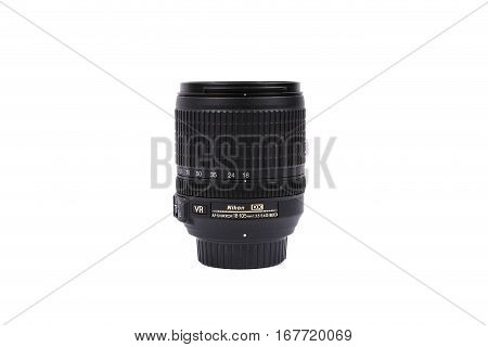 Kyiv, Ukraine - February 28, 2016:  Nikon 18-105Mm F/3.5-5.6G Vr Af-s Dx Lens For  Dslr Nikon Camera