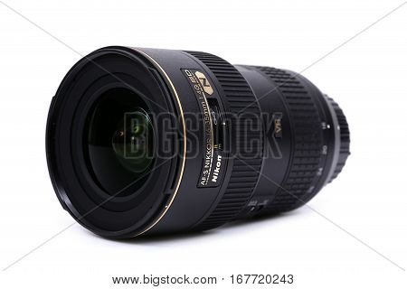 Kyiv, Ukraine - February 28, 2016:  Nikon 16-35Mm F/4G Vr Af-s Lens For  Dslr Nikon Cameras.  Illust