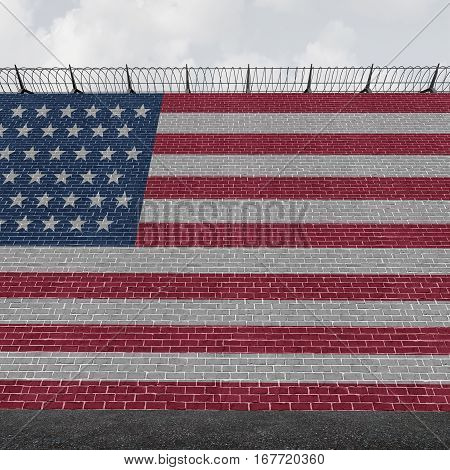 American border wall concept as a security barricade with a flag of the United States as a customs and country boundary barrier with barbed wire as a symbol for illegal immigration control as a 3D illustration.