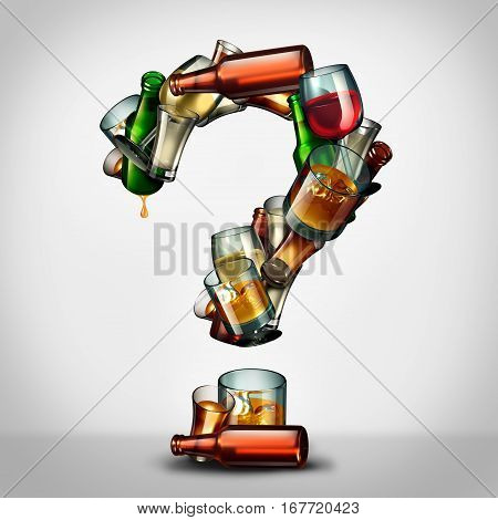 Alcohol questions and alcoholism information concept as a group of beer wine and hard liquor glasses shaped as a a question mark as a symbol for an alcoholic disorder and addiction uncertainty as a 3D illustration.