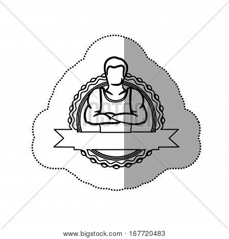 sticker border with contour muscle man crossed arms and label vector illustration