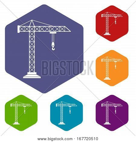 Construction crane icons set rhombus in different colors isolated on white background
