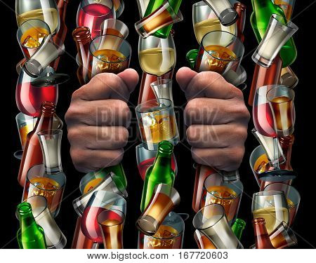Alcohol addiction and trapped by alcoholism concept as the hands of a drunk prisoner holding a group of liquor bottles and glasses shaped as prison bars from a jail with 3D illustration elements.