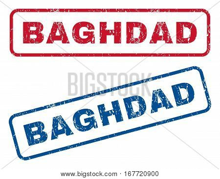 Baghdad text rubber seal stamp watermarks. Vector style is blue and red ink tag inside rounded rectangular banner. Grunge design and unclean texture. Blue and red emblems.