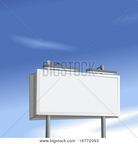 Outdoor advertising billboard copyspace high on a blue sky background.