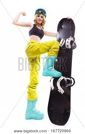 Blonde Slim Girl With Snowboard