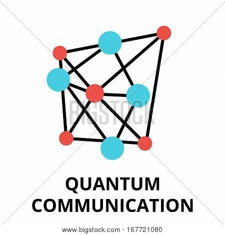 Modern flat editable vector line icon of future technology - quantum communication for graphic and web design