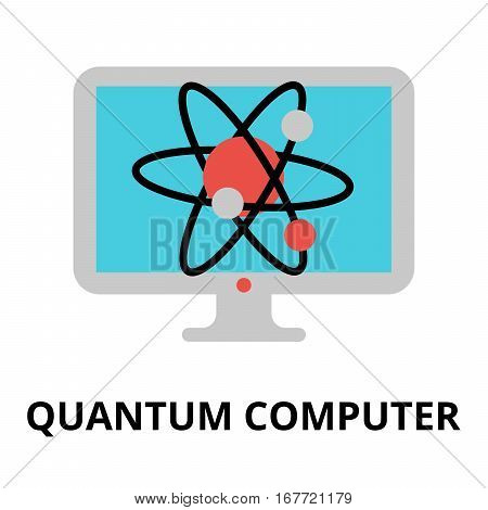 Modern flat editable vector line icon of future technology - quantum computer for graphic and web design