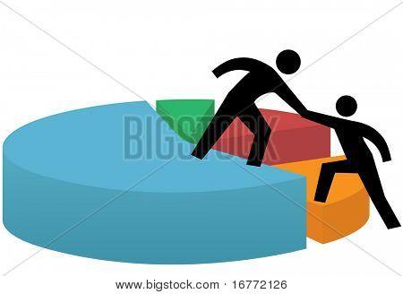 Geschäftsleute leihen und erhalten eine helfende hand-Aufzug zum Erfolg in einem finanziellen Kreisdiagramm.