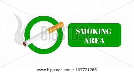 Smoking and smoking area labels with tobacco cigarette vector illustration.