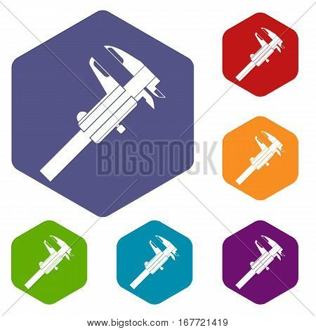 Calipers icons set rhombus in different colors isolated on white background