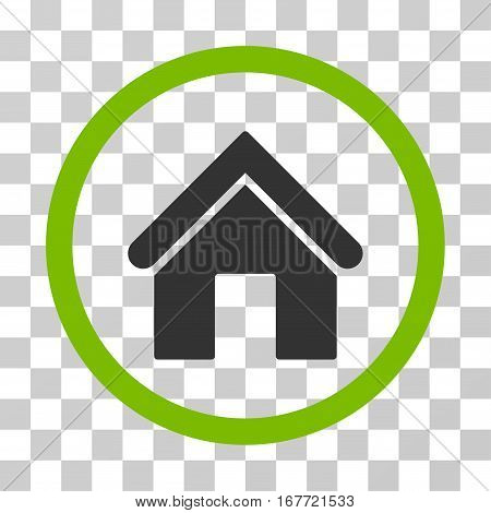 Home rounded icon. Vector illustration style is flat iconic bicolor symbol inside a circle eco green and gray colors transparent background. Designed for web and software interfaces.