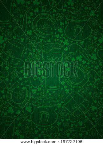 Green background for Patricks day with ber mug horseshoe hat pipe and shamrocks vector illustration