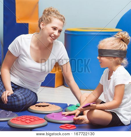School Girl During Sensory Integration Class