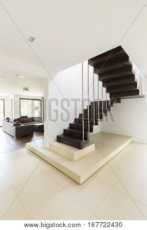 Staircase With Black Steps