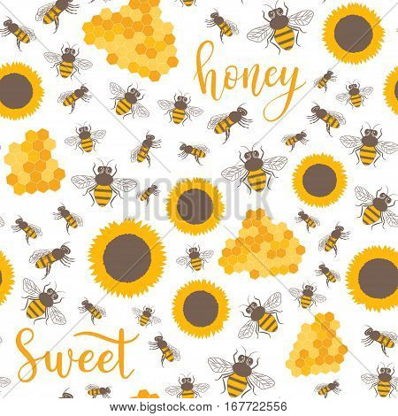 Vector Seamless Pattern With Sunflowers, Bees, Honey Sweet Text. Sweet Honey Background For Beekeepi