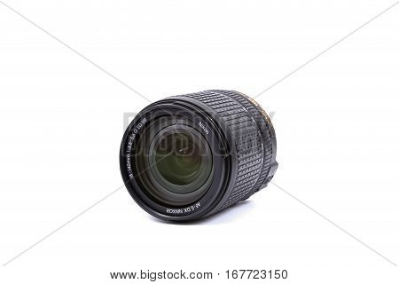 Kyiv, Ukraine - February 28, 2016:  Nikon 18-140Mm F/3.5-5.6G Vr Af-s Dx Ed Lens For  Dslr Nikon Cam