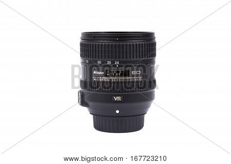 Kyiv, Ukraine - February 28, 2016:  Nikon 24-85Mm F/3.5-4.5G Vr Ed Af-s Lens For  Dslr Nikon Cameras