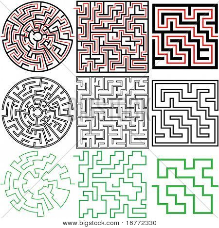 A set of 3 maze puzzles with solutions and in variations of solid and outline.