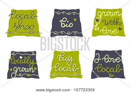 Vector stickers for eco bag, shops, package. Buy local, Local shop, Bio, Locally grown. Set of green hand drawn badges for farmers market, local food store, regional business, harvest festival
