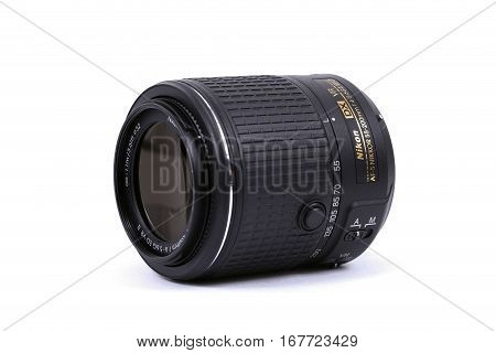 Kyiv, Ukraine - February 28, 2016: Nikon 55-200Mm F/4-5.6G Vr If-ed Dx Af-s Zoom Lens For  Dslr Niko